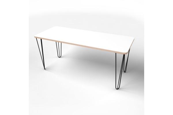 Стол прямоугольный  с покрытием hpl-пластика и черными металлическими ножками