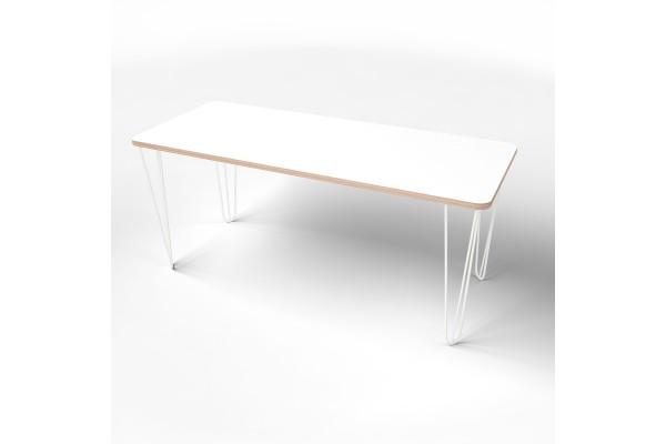 Стол прямоугольный  с покрытием hpl-пластика и белыми металлическими ножками