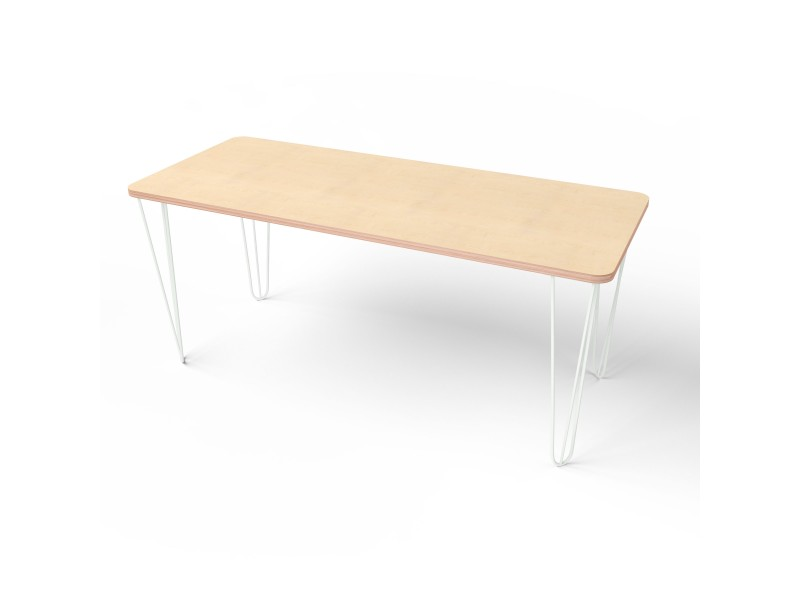 Стол прямоугольный с белыми металлическими ножками