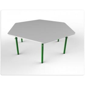 Стол шестиугольный регулируемый (белый)