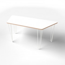Стол трапеция с покрытием hpl-пластика и белыми металлическими ножками