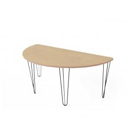 Стол полукруглый с черными металлическими ножками