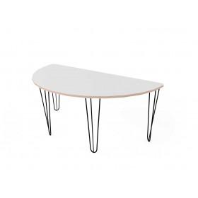 Стол полукруглый с покрытием hpl-пластика и черными металлическими ножками