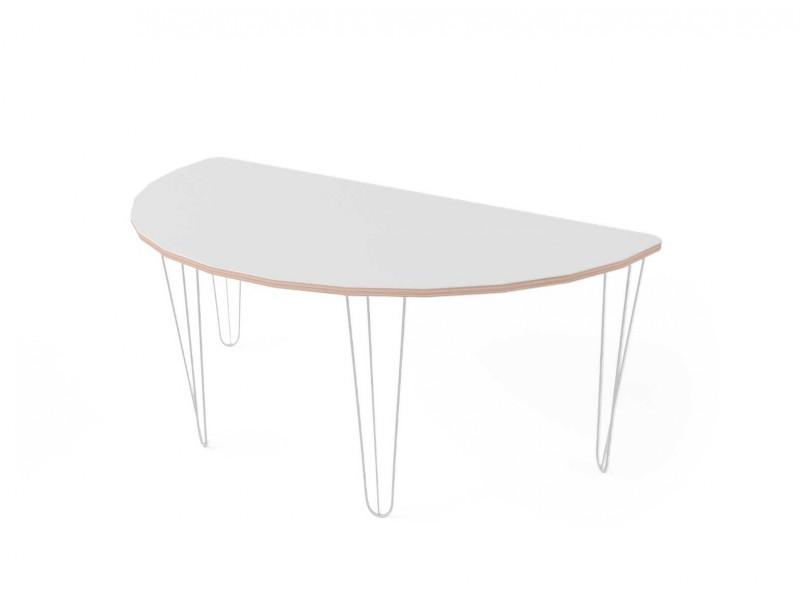 Стол полукруглый с покрытием hpl-пластика и белыми металлическими ножками