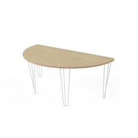 Стол полукруглый с белыми металлическими ножками