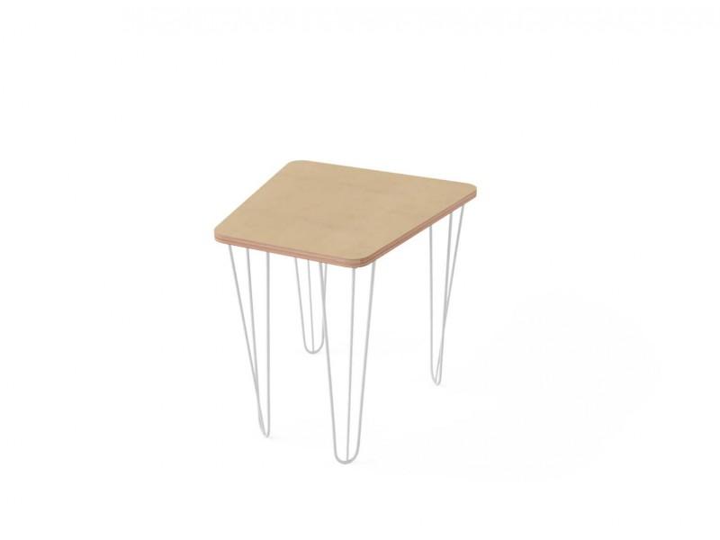 Стол трапеция малый с белыми металлическими ножками