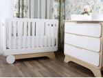 Кроватка Nova белая/натуральное дерево