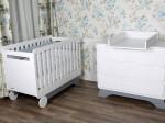 Кроватка Nova белая/серый