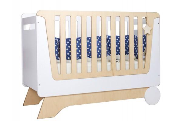 Кроватка Nova Kit белая/натуральное дерево