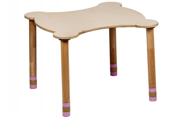 Стол фигурный розовый/натуральное дерево
