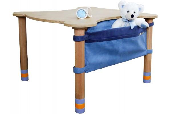 Стол фигурный с карманом индиго/натуральное дерево