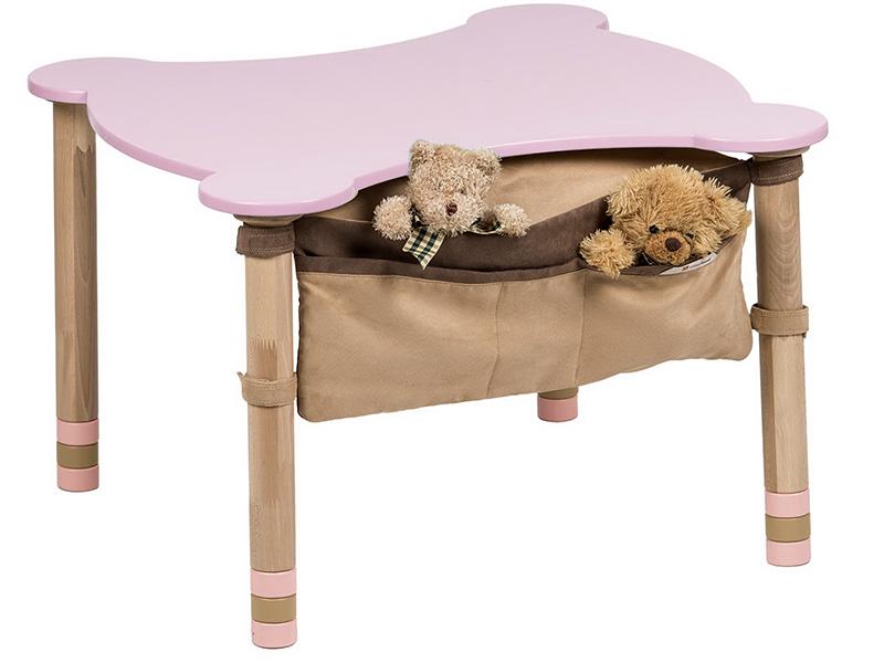 Стол фигурный с карманом розовый