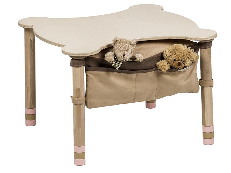 Стол фигурный с карманом розовый/натуральное дерево
