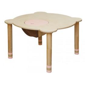 Стол круглый розовый/натуральное дерево