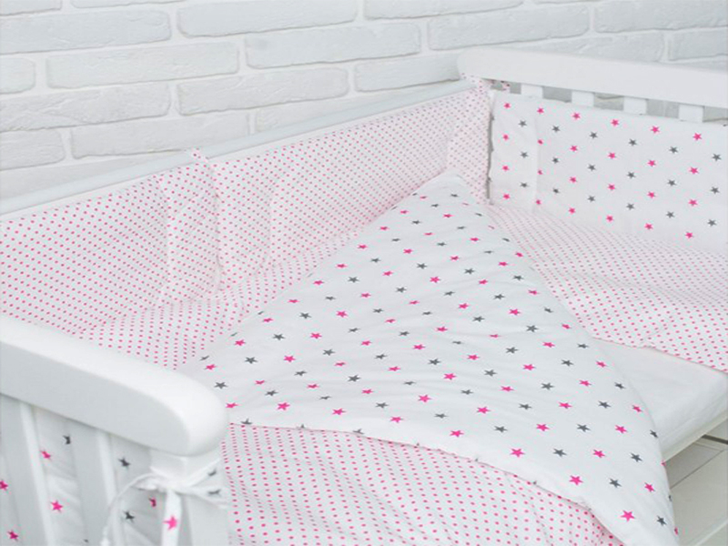Комплект в детскую кроватку Stars pink