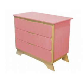 Комод с пеленальным столиком Nova розовый/натуральное дерево